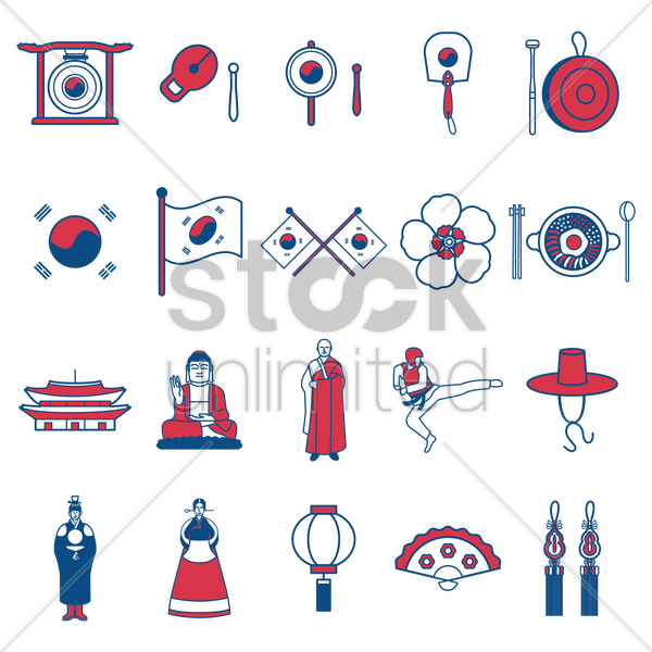 Free south korean general icons vector graphic