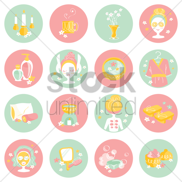 spa and beauty collection vector graphic