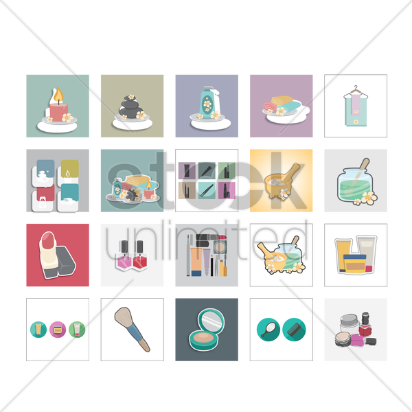 spa and makeup icons vector graphic