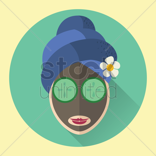 spa cucumber mask vector graphic