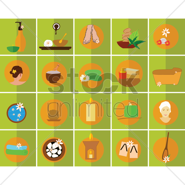 spa therapy icons set vector graphic