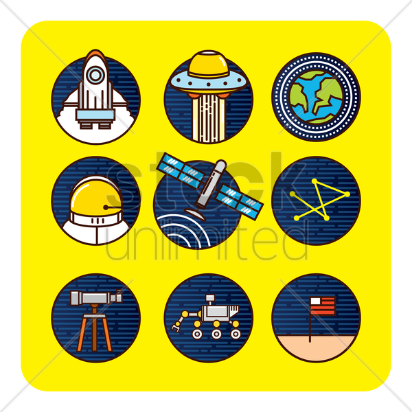 space icon set vector graphic
