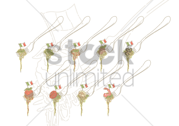spaghetti on fork vector graphic
