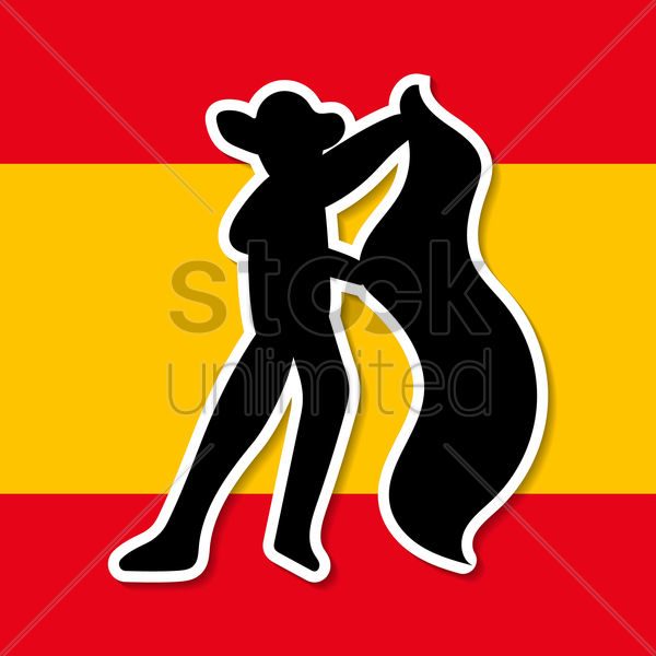 spain flag and matador vector graphic