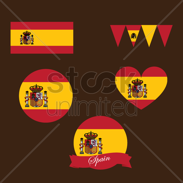 spain flag icons vector graphic