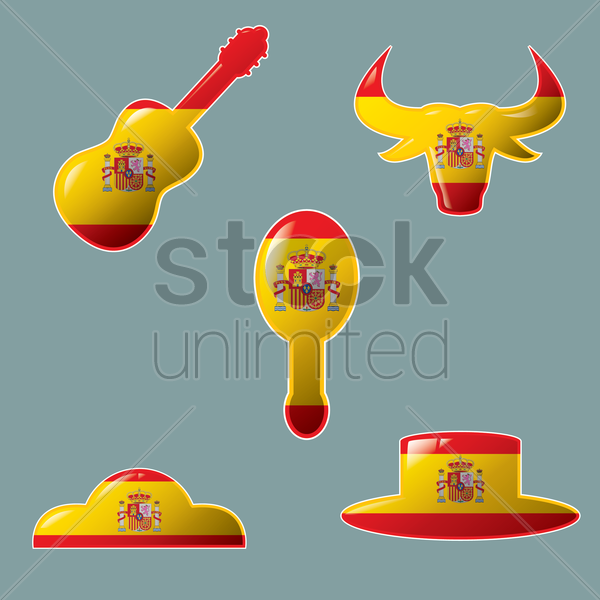 spain flag set vector graphic