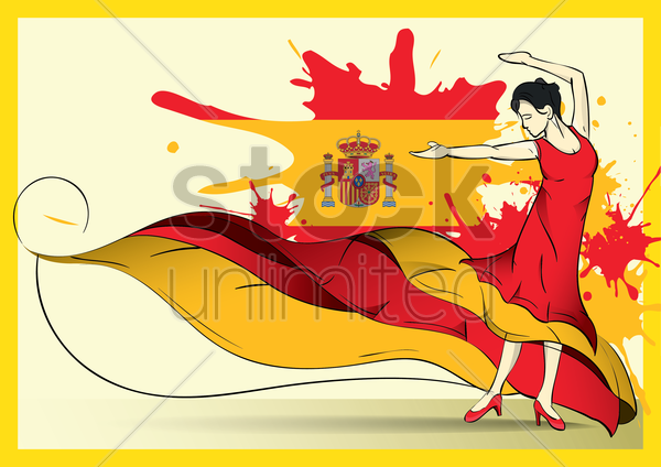 spain flag with flamenco dancer vector graphic