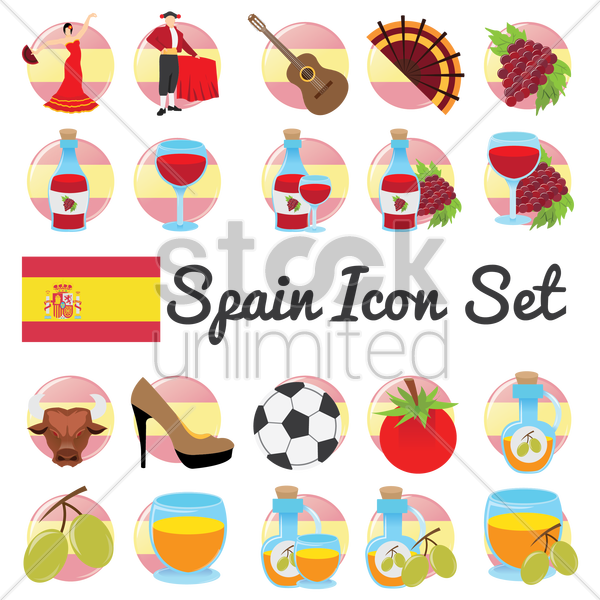 spain icon set vector graphic
