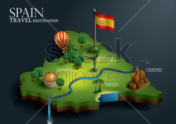 spain travel destination vector graphic