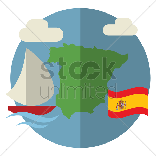 spain travel icon vector graphic