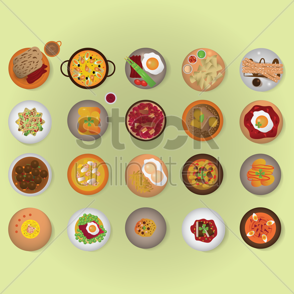 spanish cuisine set vector graphic