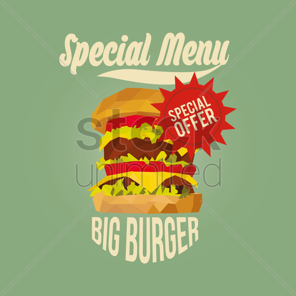 special menu big burger design vector graphic