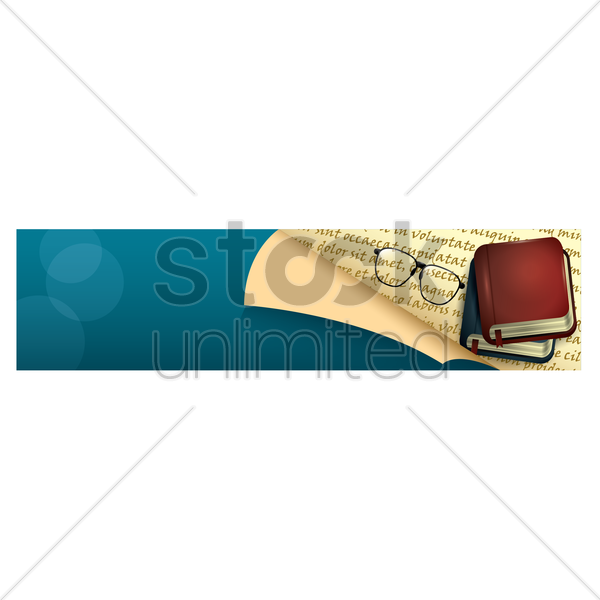 spectacles lying next to two stacked diaries on a banner vector graphic