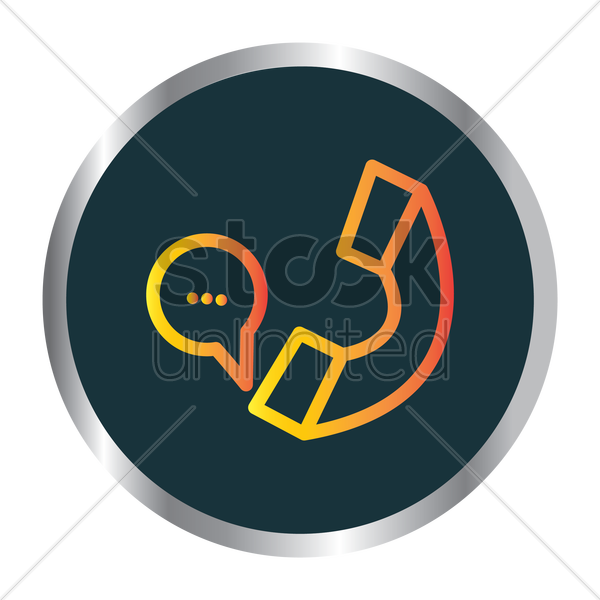 speech bubble and receiver icon vector graphic