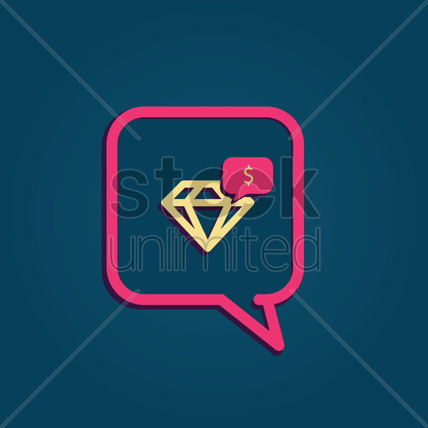 Free speech bubble with diamond vector graphic