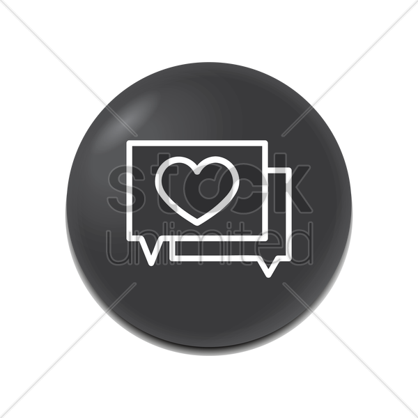 speech bubble with heart icon vector graphic