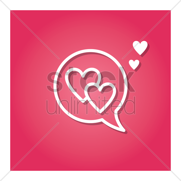 speech bubble with hearts vector graphic