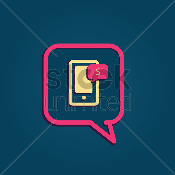 Free speech bubble with smartphone vector graphic