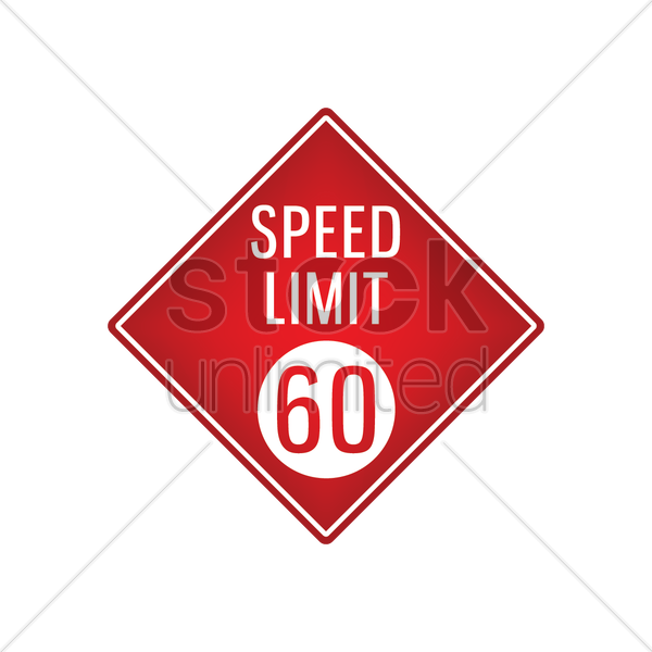 speed limit 60 signboard vector graphic