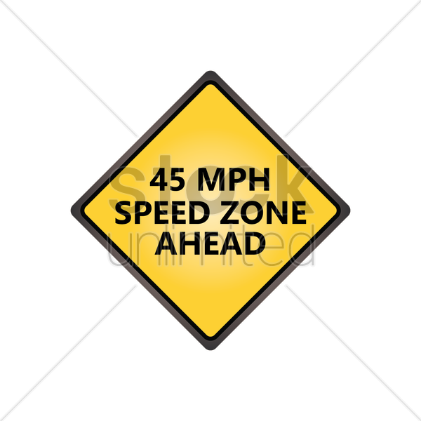 speed zone ahead sign vector graphic