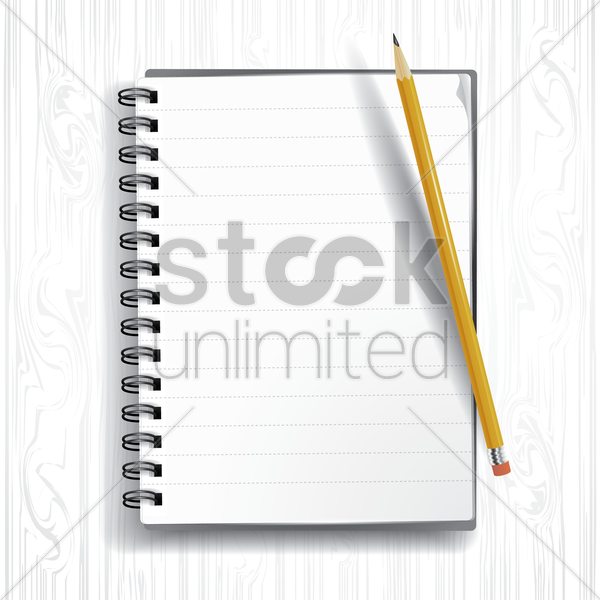 spiral notebook with pencil vector graphic
