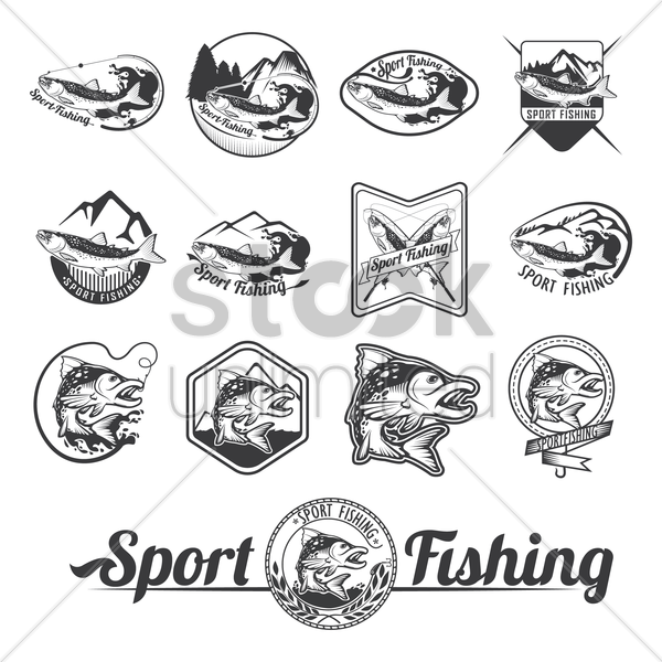 sport fishing label collection vector graphic