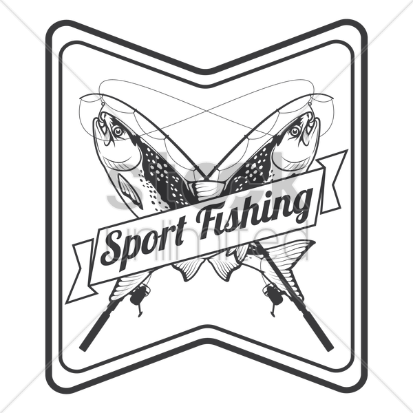 sport fishing label vector graphic