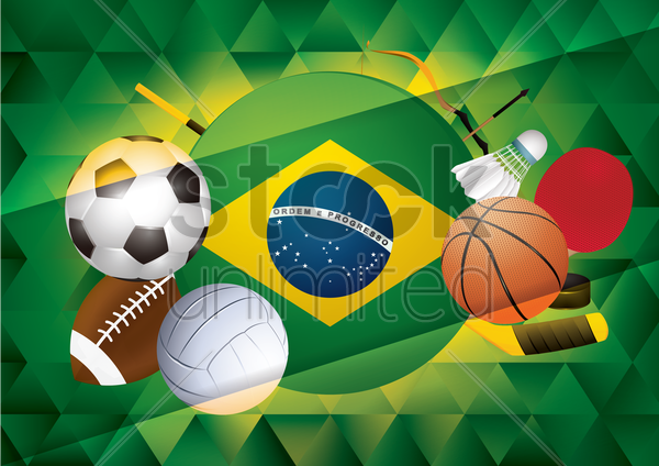sport themed banner with brazil flag vector graphic