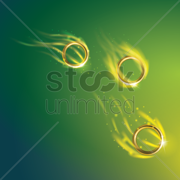 sports competition banner with flaming gymnastic rings vector graphic