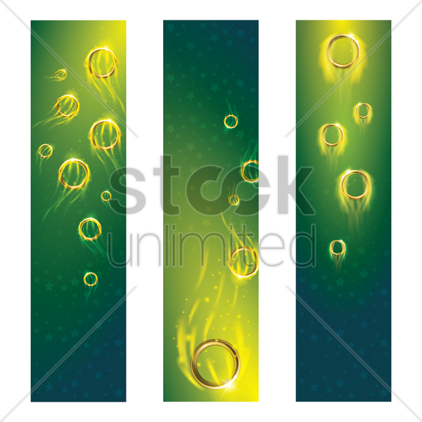 sports competition banners with flaming gymnastic rings vector graphic