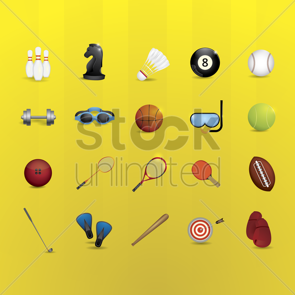 sports equipment set vector graphic