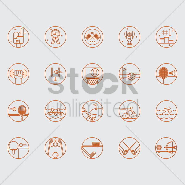 sports icons vector graphic