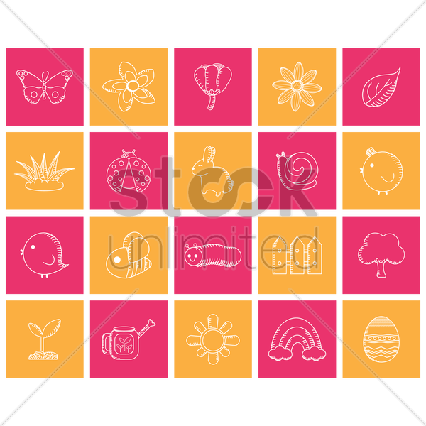 spring icon set vector graphic