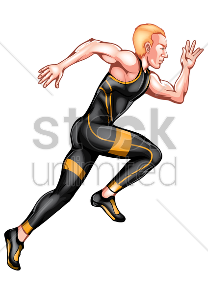sprinter in action vector graphic