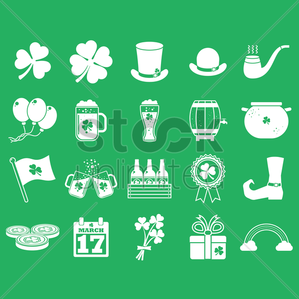 st patrick's day collection vector graphic