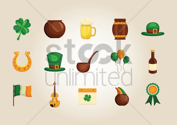 st patrick's day icons collection vector graphic