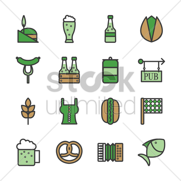 st patrick's day icons vector graphic