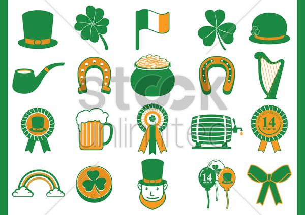 st patricks icons vector graphic