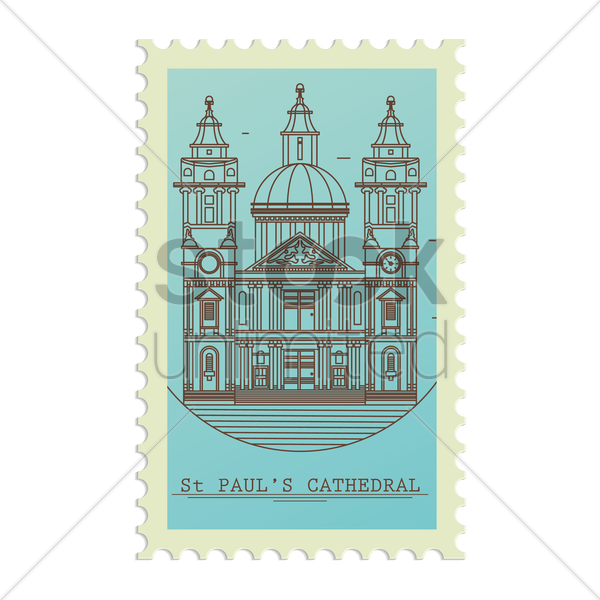 st.paul's cathedral postage stamp vector graphic