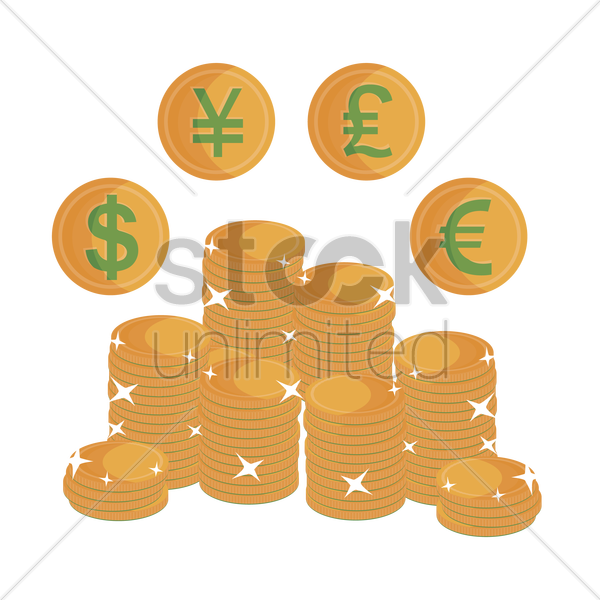 Free stack of coins with currency symbols vector graphic