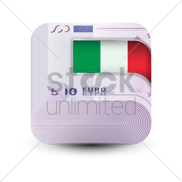 stack of euro money with italy flag clip vector graphic