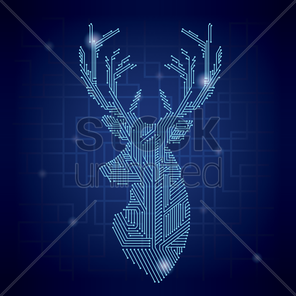 stag shape circuit vector graphic