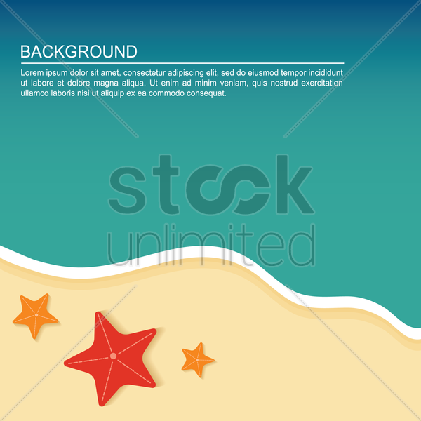 star fish on beach background vector graphic