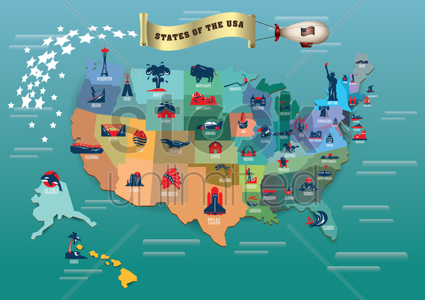 states of usa vector graphic