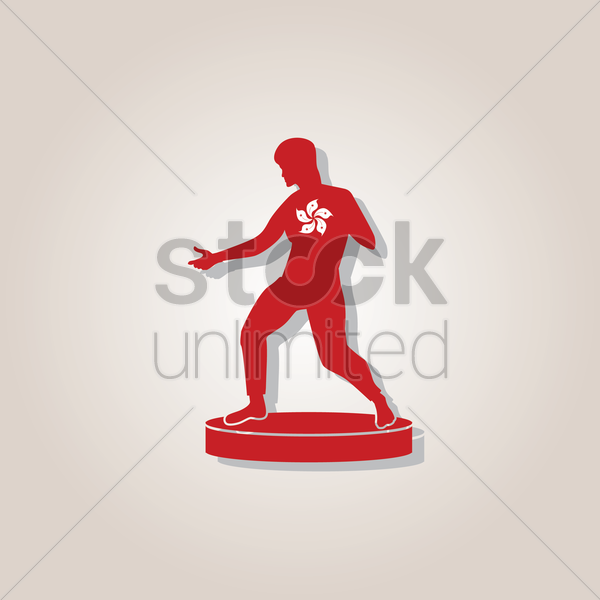 statue of bruce lee vector graphic