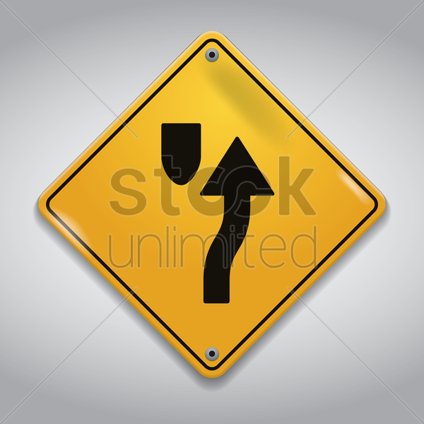 stay right island ahead sign vector graphic
