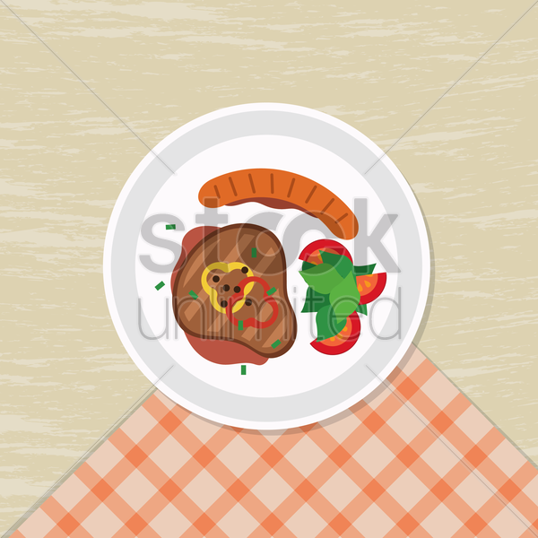 steak and sausage meal vector graphic