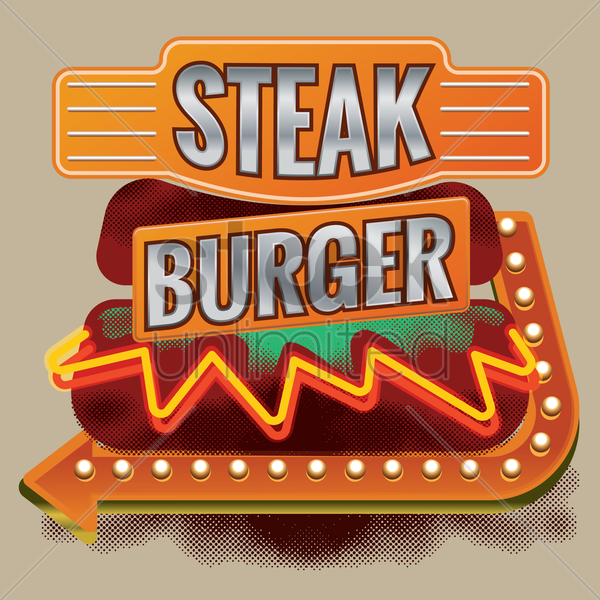 steak burger design vector graphic
