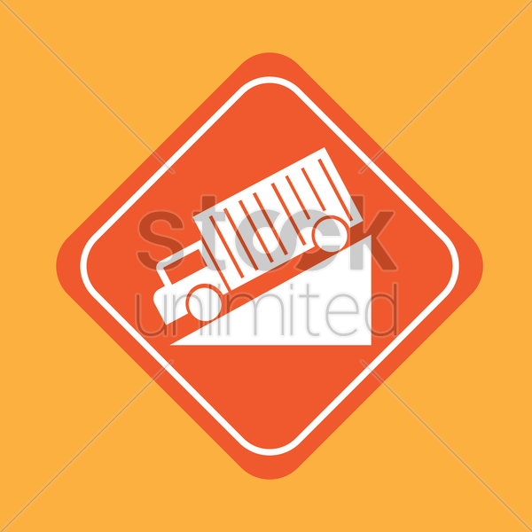 steep hill road signs vector graphic