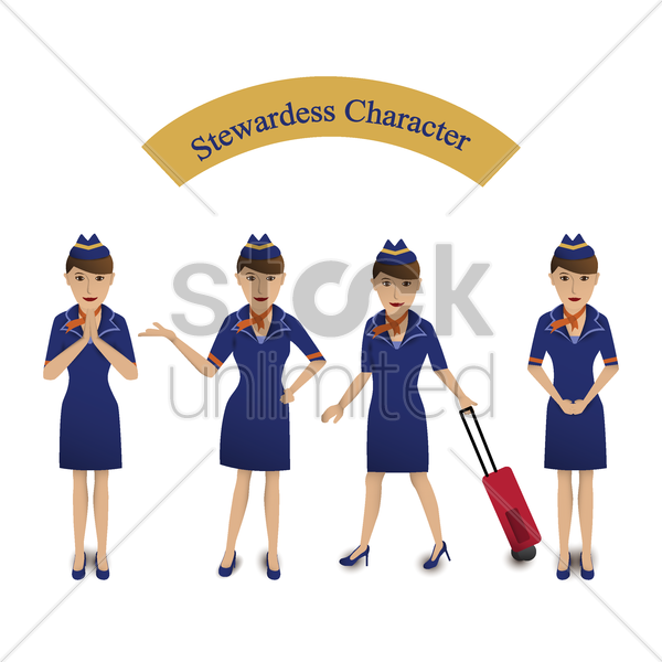 stewardess vector graphic